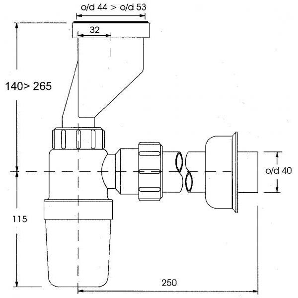 Сифон для писсуара со смещением 32-40