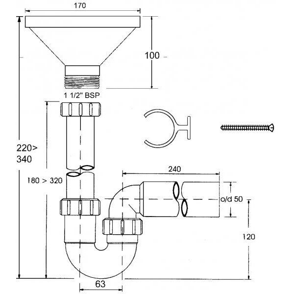 Сифон Р-образный 1 1/2-50 с воронкой и крепежом к стене