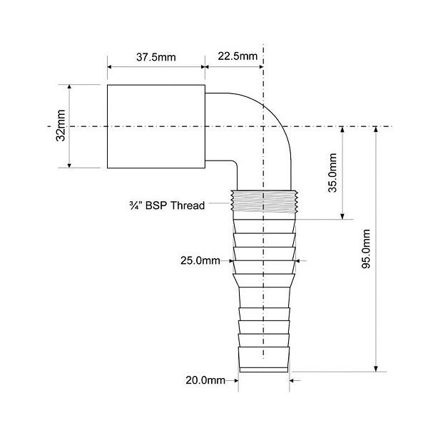 Адаптер угловой для подключения слива бытовой техники 32 мм