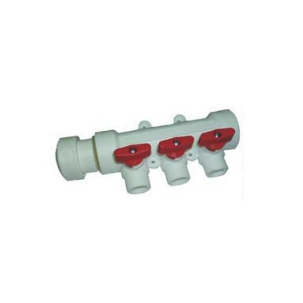 Коллектор полипропиленовый с кранами 40-20 6 выходов красный