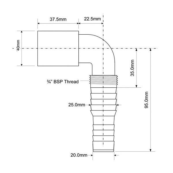 Адаптер угловой для подключения слива бытовой техники 40 мм