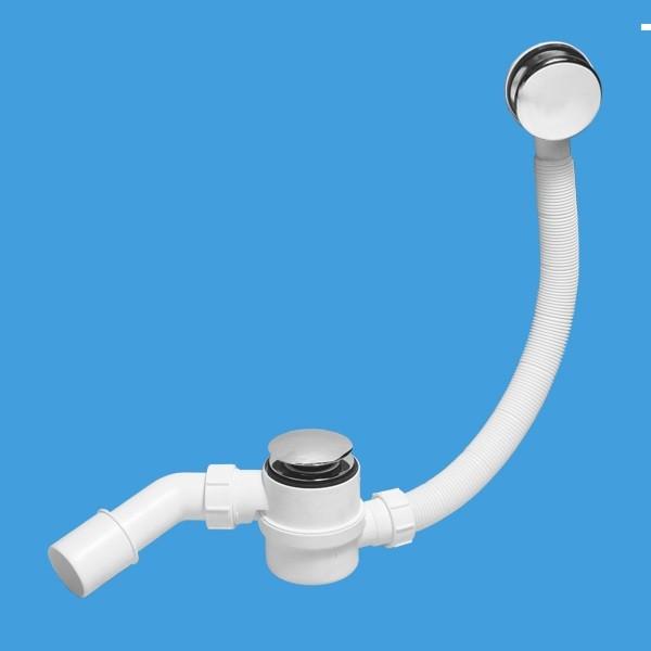 """Сифон для ванны регулируемый 1 1/2-40/50 с переливом, тип """"кнопка"""""""