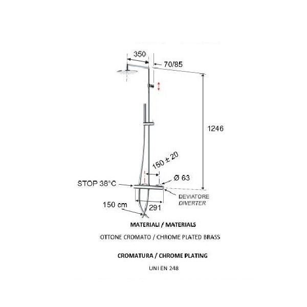 Смеситель для душевой кабины термостатический с верхним душем ELEGANCE