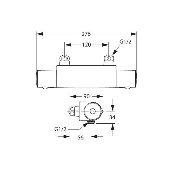 Смеситель для душевой кабины термостатический Ви-стайл